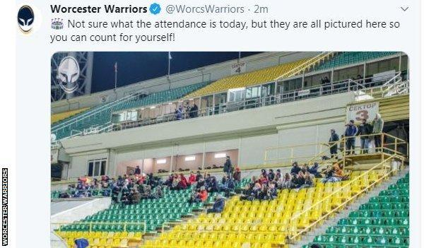 Worcester Warriors' media team had a guess at the official attendance at the Park Krasnodar