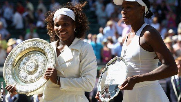 Serena and Venus Williams in the 2009 Wimbledon final