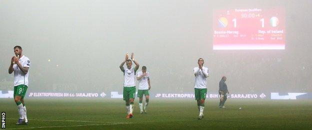 Republic players applaud their fans after Friday's first leg