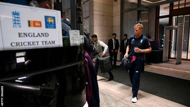 Joe Root boards a bus in Sri Lanka in March