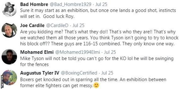 Boxing fans on Twitter say that despite it being an exhibition bout, both Mike Tyson and Roy Jones Jr will be looking for the knockout