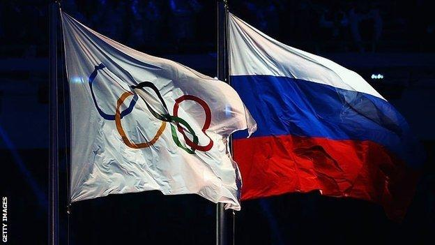 Russia and Olympic flags