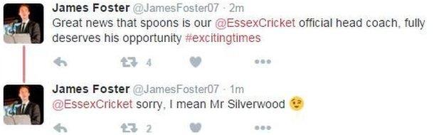 Essex skipper James Foster on Twitter