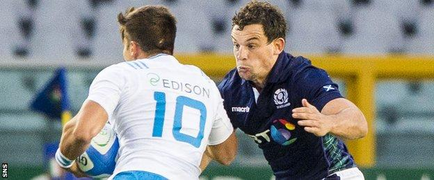 John Hardie playing for Scotland against Italy