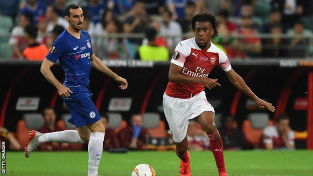 Alex Iwobi in action during the Europa League final