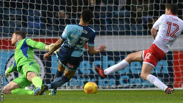 Nathan Tyson scores for Wycombe