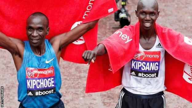 Eliud Kipchoge and Wilson Kipsang after the 2015 London Marathon