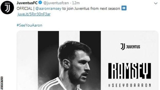 Juventus have officially welcomed Ramsey on their website and social media channels