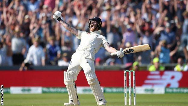 Ben Stokes celebrates hitting the winning runs