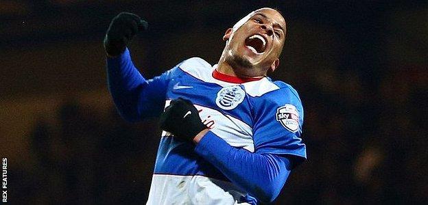 Tjaronn Chery celebrates his first-half goal against Derby