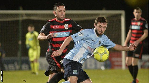 Coleraine's Neil McCafferty in action against Fra McCaffrey of Ballymena during the League Cup semi-final at the Showgrounds in December
