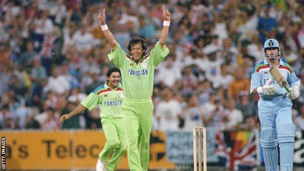 Pakistan captain Imran Khan (centre) celebrates after beating England in the final of the 1992 World Cup