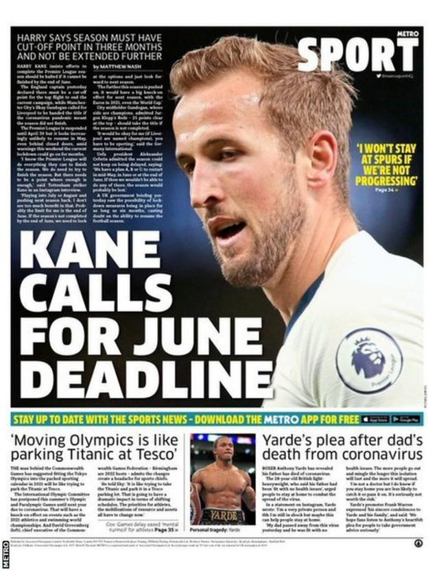 Metro back page on Monday, 30 March