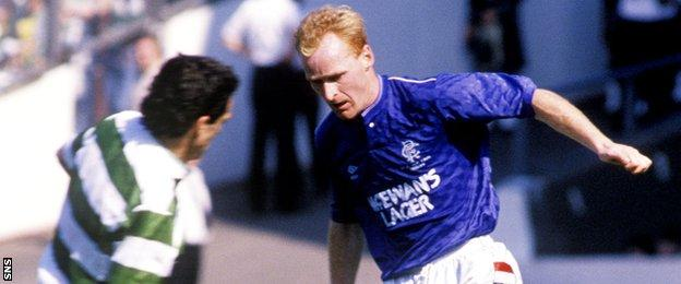 Celtic's Paul McStay and Rangers' John Brown
