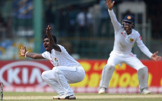 Sri Lanka's Lakshan Sandakan appeals for lbw