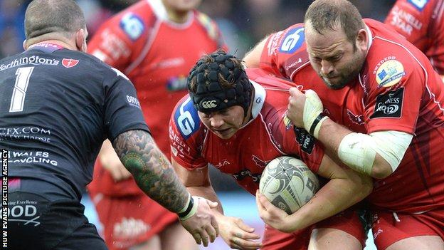 James Davies in action for Scarlets
