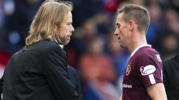 Austin MacPhee and Steven MacLean during Hearts' semi-final defeat to Rangers
