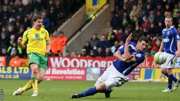 Grant Holt hit a hat-trick against Ipswich Town for Norwich City at Carrow Road in November 2010