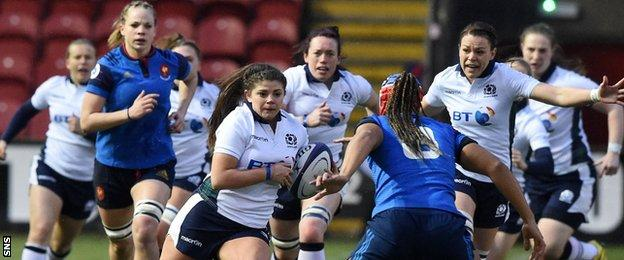 Scotland Women in action against France