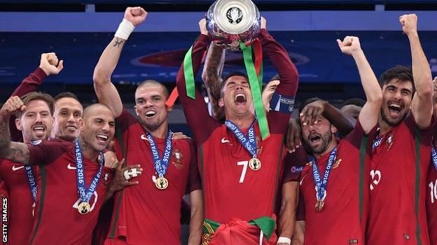 Portugal celebrating