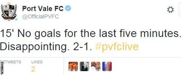 Port Vale tweet