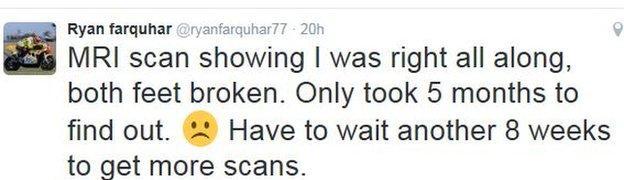 Ryan Farquhar tweet news following his latest scans