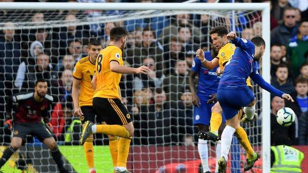 Eden Hazard scores for Chelsea against Wolves