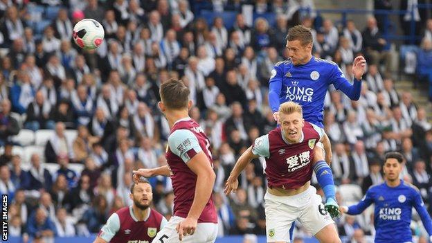 Man united news  football news  football transfer and rumours Jamie Vardy head towards goal for Leicester against Burnley