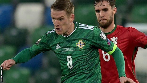 Captain Steven Davis breaks the British international caps record with a 126th cap for Northern Ireland