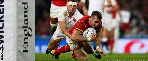Gareth Davies scores for Wales against England in the World Cup