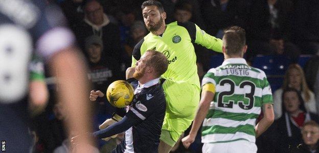 Celtic keeper Craig Gordon challenges County striker Liam Boyce