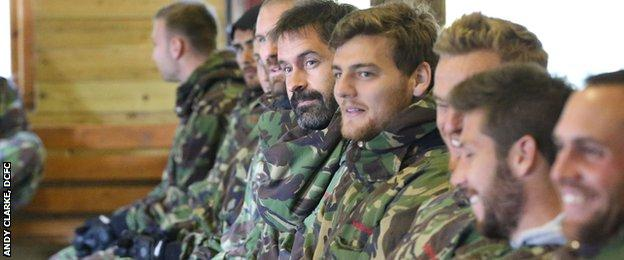 Derby County players get ready for paintballing
