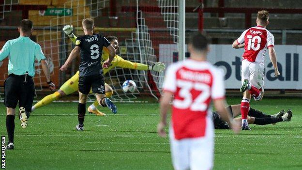 Callum Camps scores Fleetwood's second goal