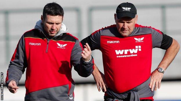 Stephen Jones (L) is Scarlets backs coach under boss Wayne Pivac
