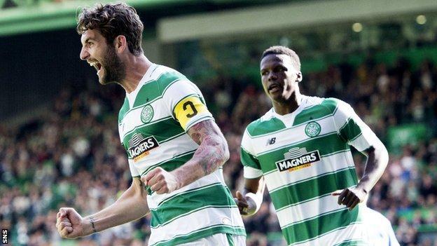 Celtic's Charlie Mulgrew celebrates his goal
