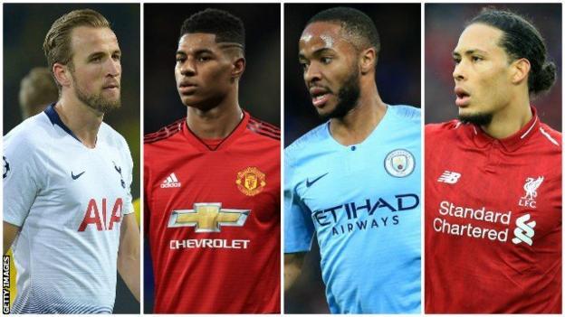 Harry Kane (Tottenham), Marcus Rashford (Manchester United), Raheem Sterling (Manchester City), Virgil van Dijk (Liverpool)