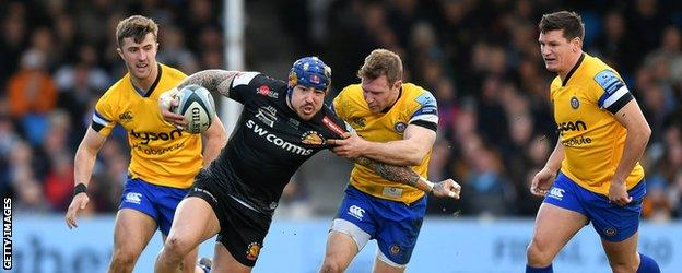 Exeter Chiefs' Jack Nowell is tackled