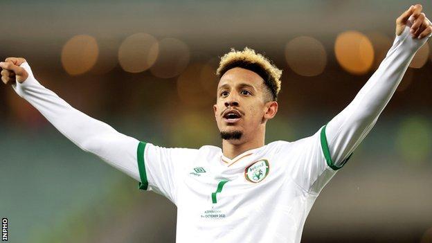 Callum Robinson celebrates after putting the Republic of Ireland ahead in Baku