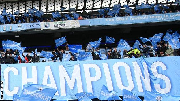 A limited number of fans were allowed into Premier League stadiums for the final two rounds of matches at the end of a 2020-21 season which saw Manchester City crowned champions