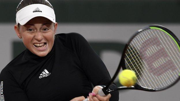 Jelena Ostapenko in action during her victory over Karolina Pliskova