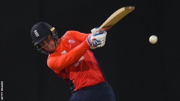 England opener Jason Roy strikes the ball into the leg side