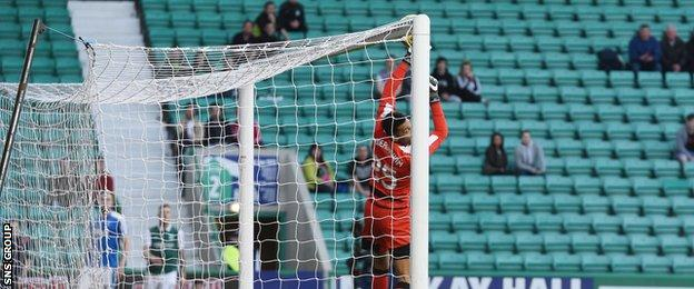 Foderingham fumbled Anthony Stokes' cross into his own net to gift Hibs their second