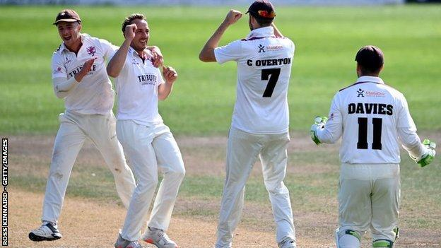 Josh Davey, who took the final Worcestershire wicket, and Craig Overton have claimed 52 scalps between them in Somerset's five Bob Willis Trophy games