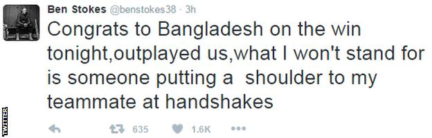 Ben Stokes tweeted his reaction to the result after the match
