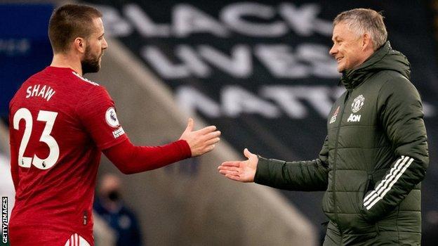 Luke Shaw and Manchester United boss Ole Gunnar Solskjaer