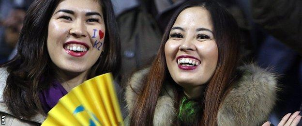 Astana fans at their Champions League game with Atletico Madrid