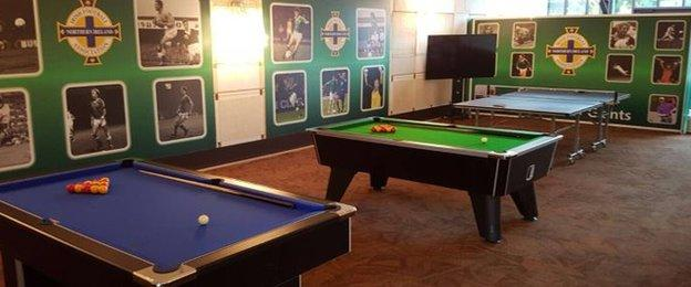 The Northern Ireland team hotel features pool tables