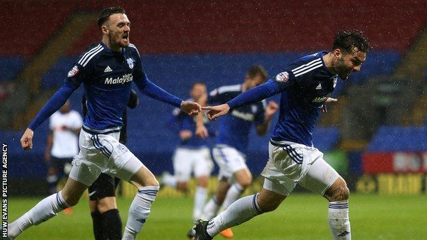 On loan striker Tony Watt celebrates after scoring in the win at Bolton