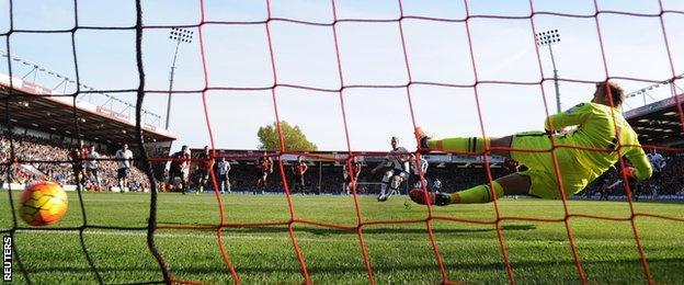 Harry Kane scores against Bournemouth