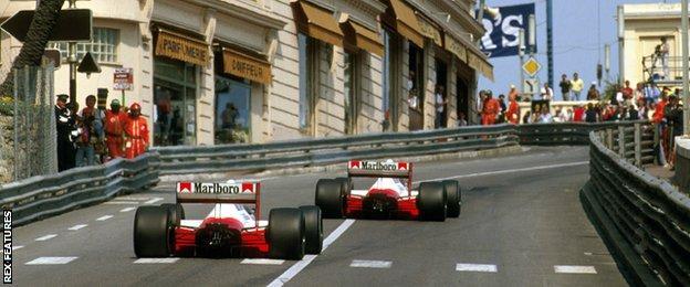 McLaren F1 drivers Ayrton Senna and Alain Prost